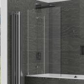 2 Panel 8mm Out-Swing Bath Screen 950mm LH