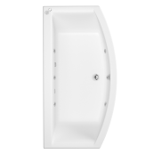 Arc Bow Fronted 6 Jet Whirlpool Bath 1700 x 650 with LED Light & Bath Waste