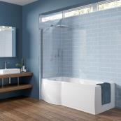 Concert P Shape Shower Bath with Panel & Screen 1600 x 850mm Left Hand